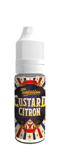 Le E-liquide Custard Citron by Liquideo – Tentation Custard, un duo parfait entre une fabuleuse crème anglaise et une pointe de citron yuzu-Mya-Vap