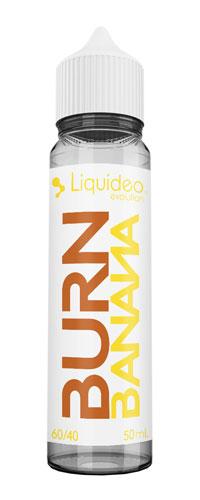Le E-liquide Burn Banana by Liquideo,de la collection Evolution Miam : Une base de Banane Flambée sucrée.Mya-vap