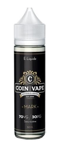 LeE liquide Mark Coin Vape 50mlil s'agit d'une crème onctueuse parfumée à la vanille, un caramel fondant saupoudrés de noix de cajou grillées. Mya-vap